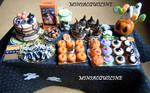Big Halloween party table - dollhouse miniature