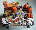Dollhouse miniature Halloween outdoor party table