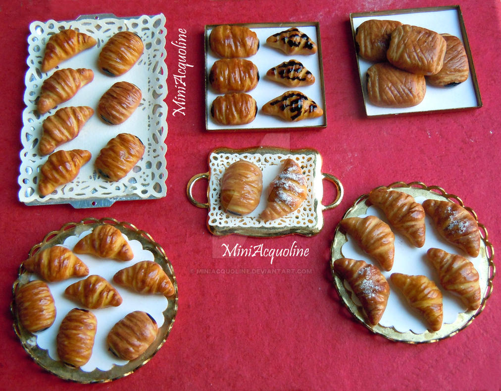 Miniature croissants, sweet buns, pain au chocolat by miniacquoline