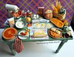Let's make a pumpkin pie miniature dollhouse table
