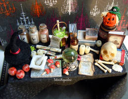 Halloween witch or wizard miniature table
