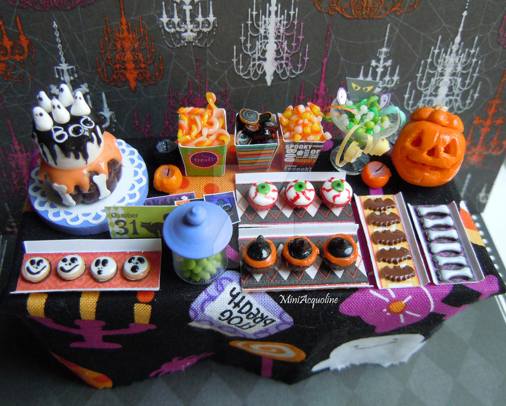 Halloween miniature party table n.2 by miniacquoline