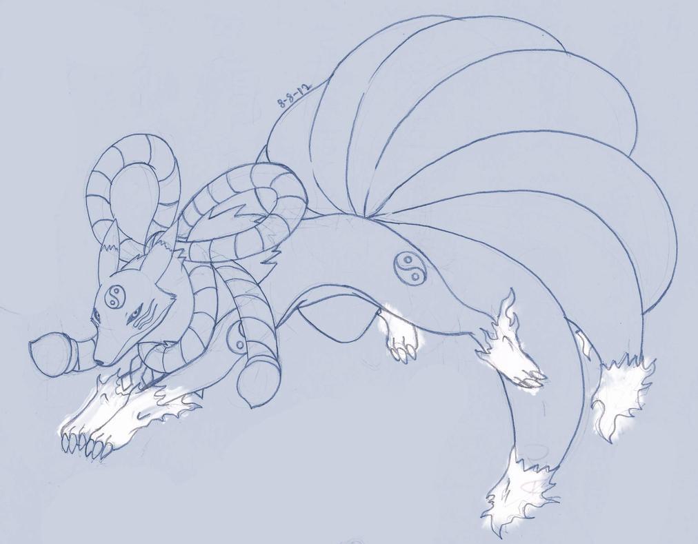 FA sketch of kyubimon by anothenobody