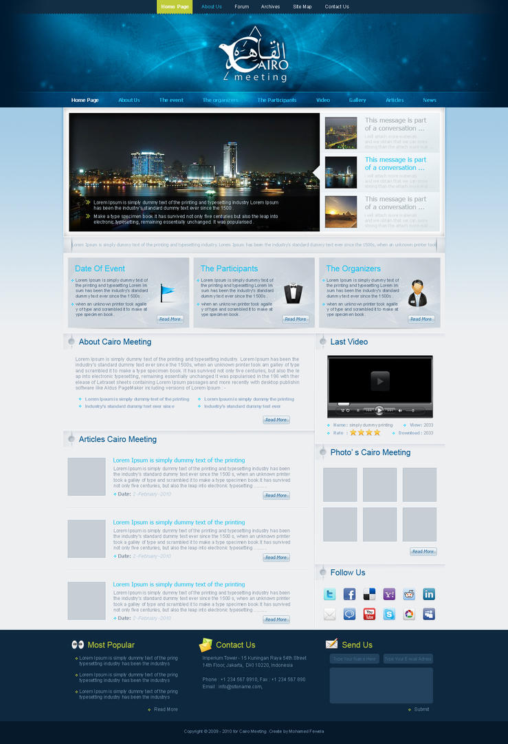 cairo meeting website by fewela d2zdc3p Web Design Inspiration: Inspiring and Creative Web Interface Designs
