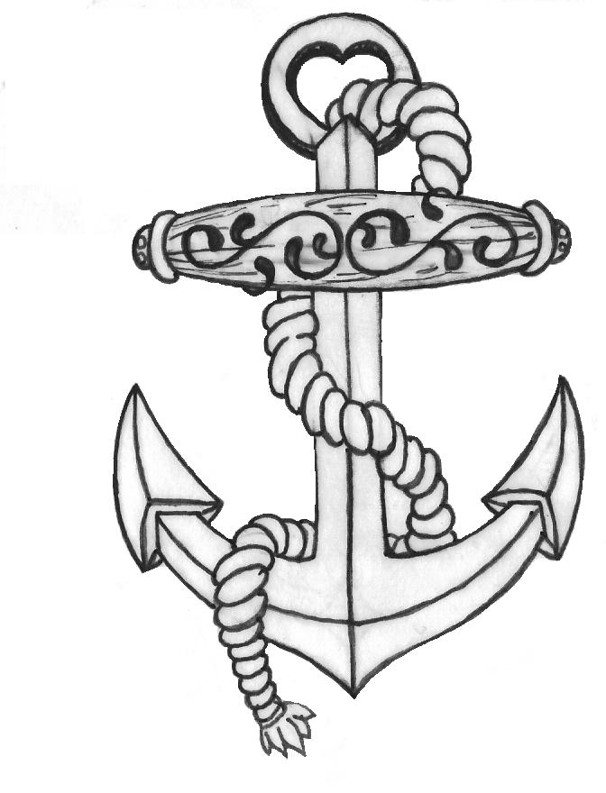 Line Drawing Anchor : Anchor tattoo line drawing by inkjunkie on deviantart