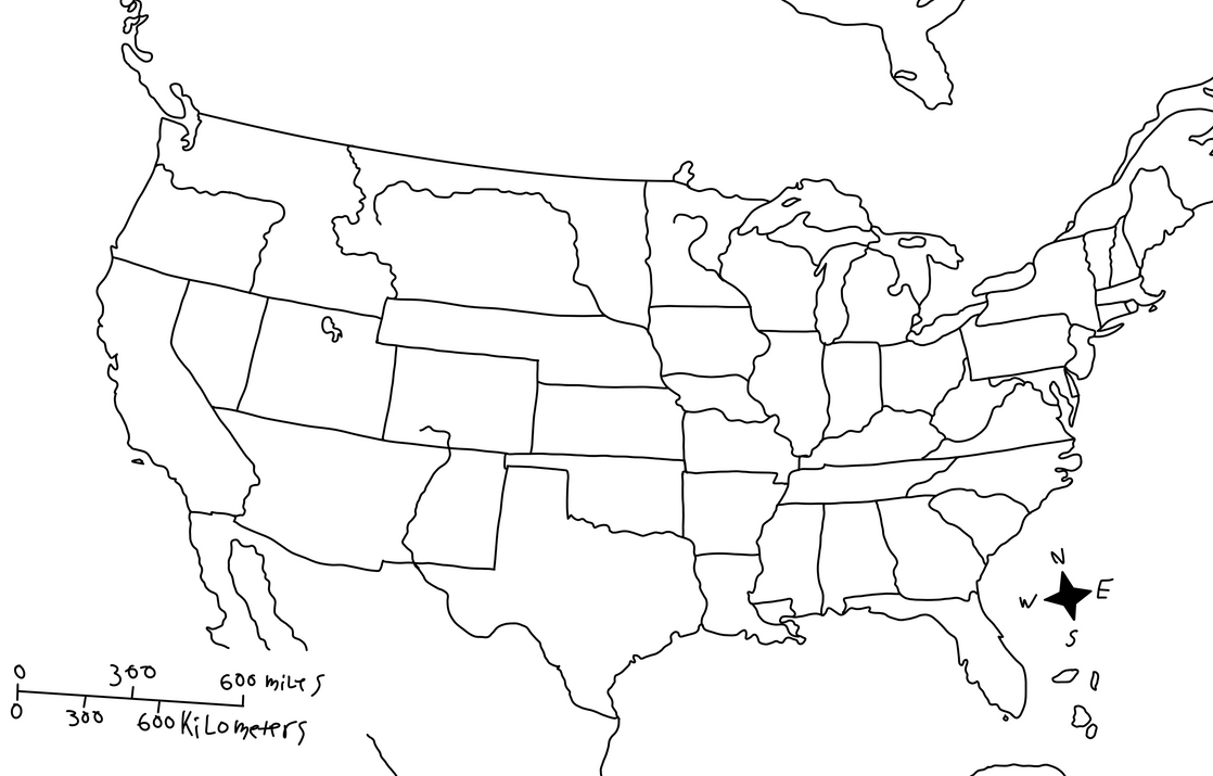 United States Map With State Names USA States On The Map US USA - Blank us map with state names