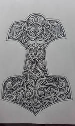 Dotwork Thor's Hammer by apocalypticviolin