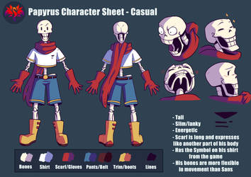 Papyrus Character Reference Sheet (LOVE Series) by SavaPhoenixStudios