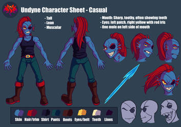 Undyne Character Reference Sheet (LOVE Series) by SavaPhoenixStudios