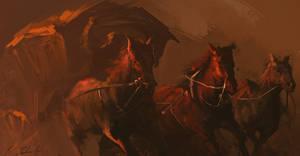 Horses rush
