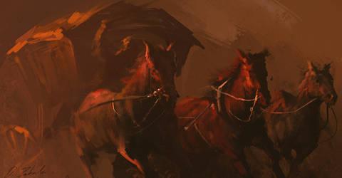 Horses rush by daRoz