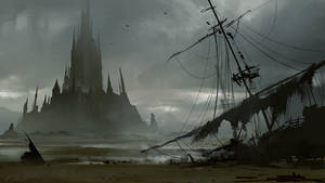 Island Castle and destroyed ship