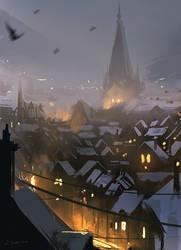 Snowy Rooftops (30min sketch)
