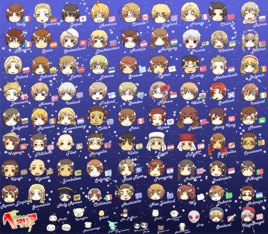 hetalia all countries of the world Hetalia (made up of the words for useless + italy) is the story of the countries of  the world made into people, carrying with them that nation's stereotypes the  main  by unheardperson on dec 12, 2013 - see all reviews by unheardperson.