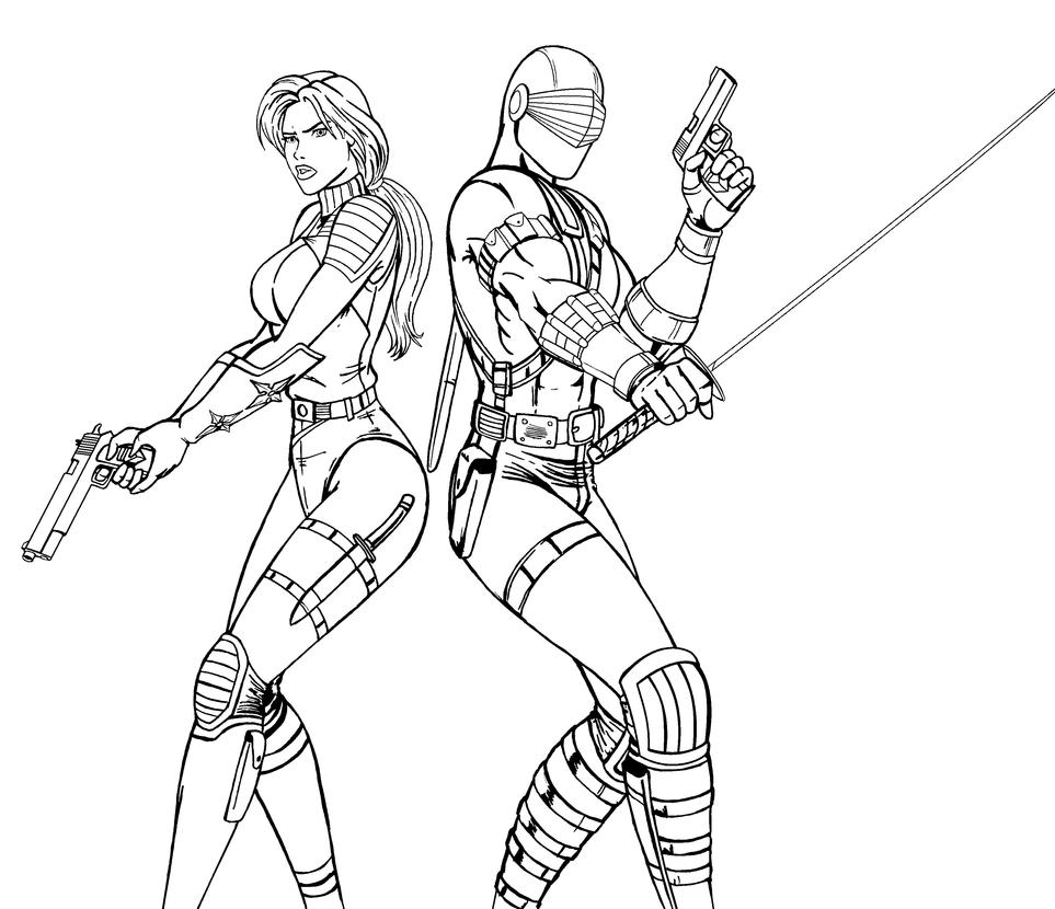 G i joe coloring pages - Scarlett Snake Eyes Lineart By Josephb222
