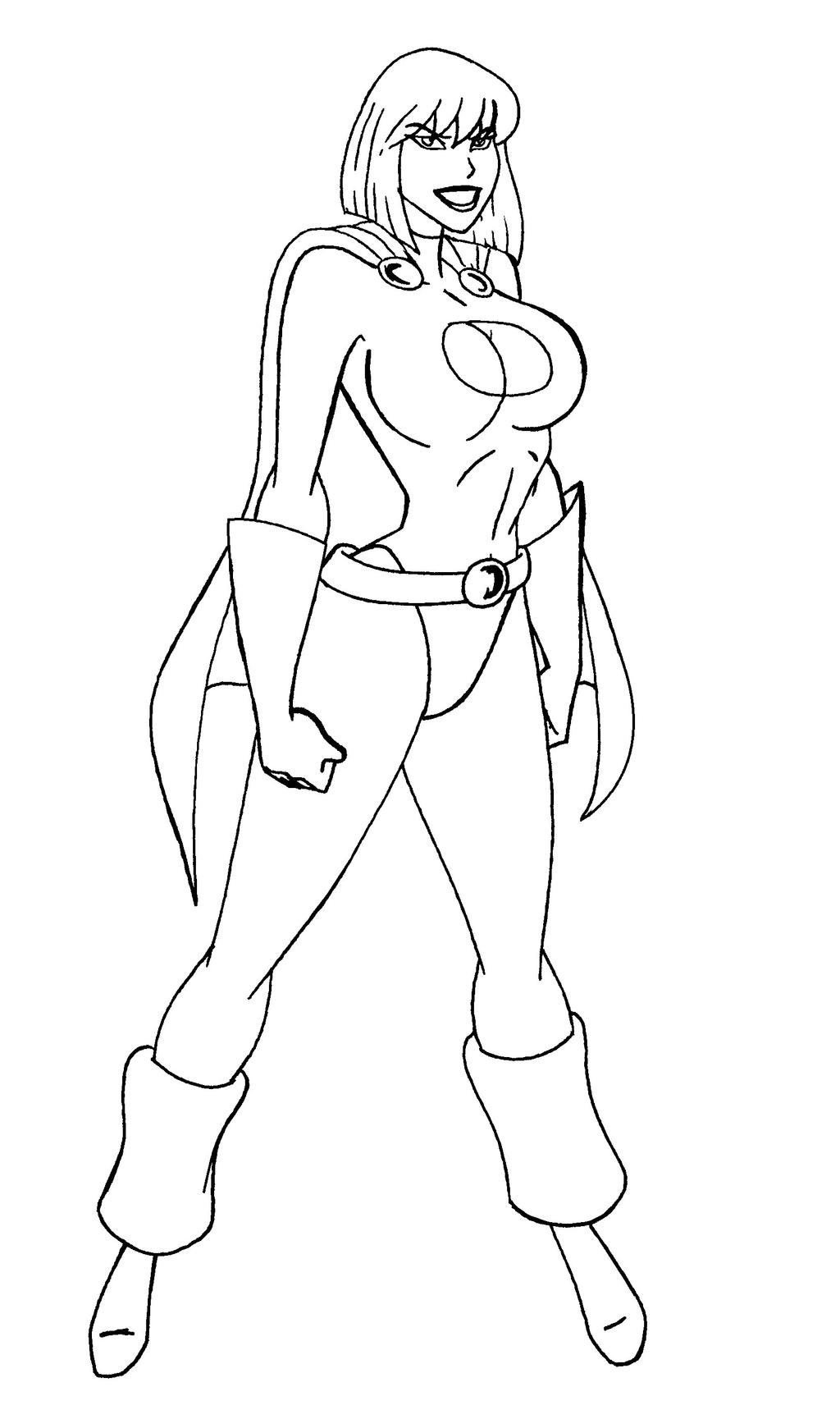 Power girl lineart jlu by josephb222 on deviantart for Girl power coloring pages