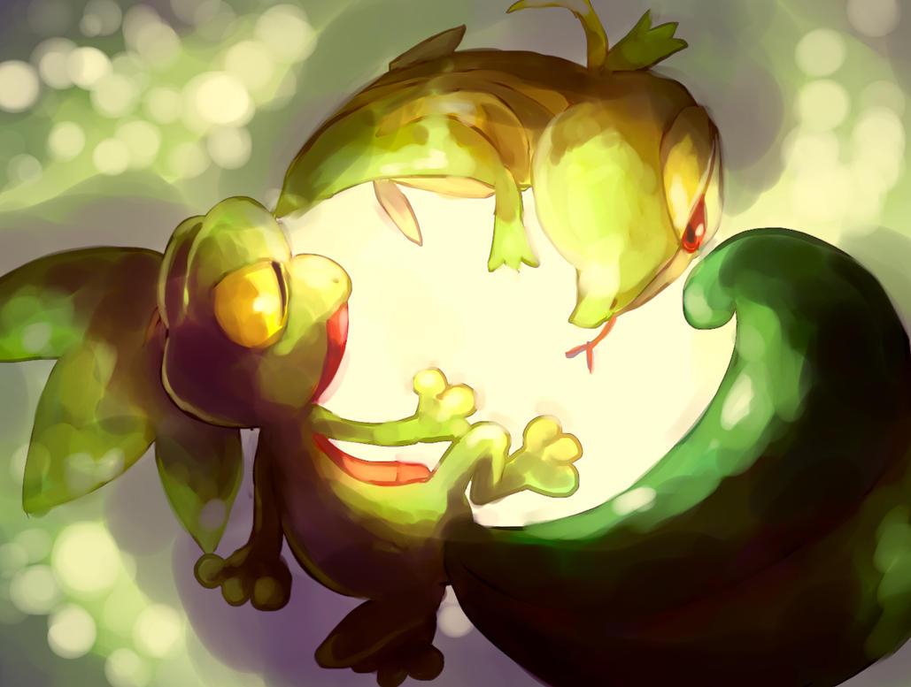Pokemon : Treecko and Snivy by Sa-Dui