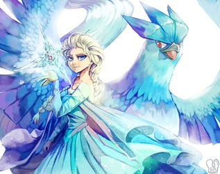 Frozen x Pokemon : Elsa and Articuno by Sa-Dui