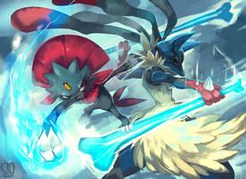 Pokemon : MegaLucario vs Weavile by Sa-Dui