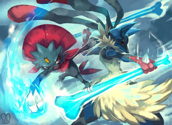 Pokemon : MegaLucario vs Weavile by Sa-Dui