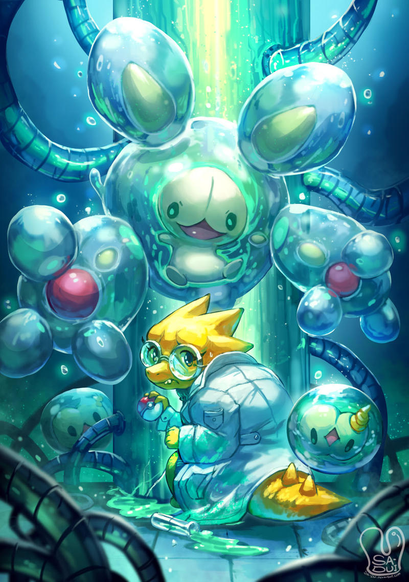 Pokemon x UNDERTALE : Alphys and Reuniclus by Sa-Dui