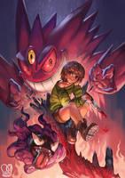Pokemon x UNDERTALE : Chara x MegaGengar by Sa-Dui