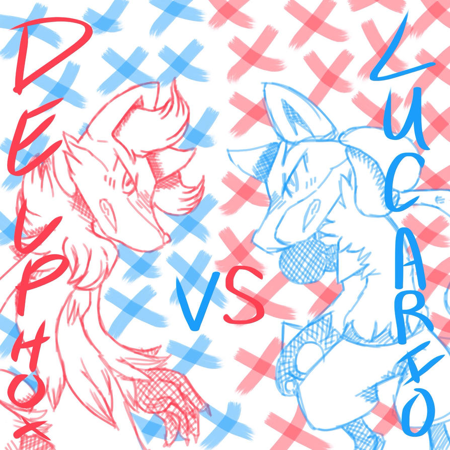 Delphox VS. Lucario by RichHoboM3