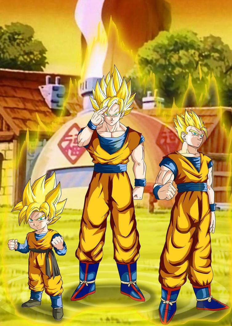 Son Goku And Family by BlackBerriNinja