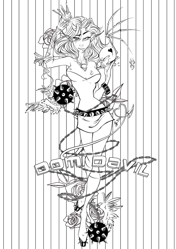 Deviantart coloring clubs -  Domi Davil Coloring Page By Asher Bee