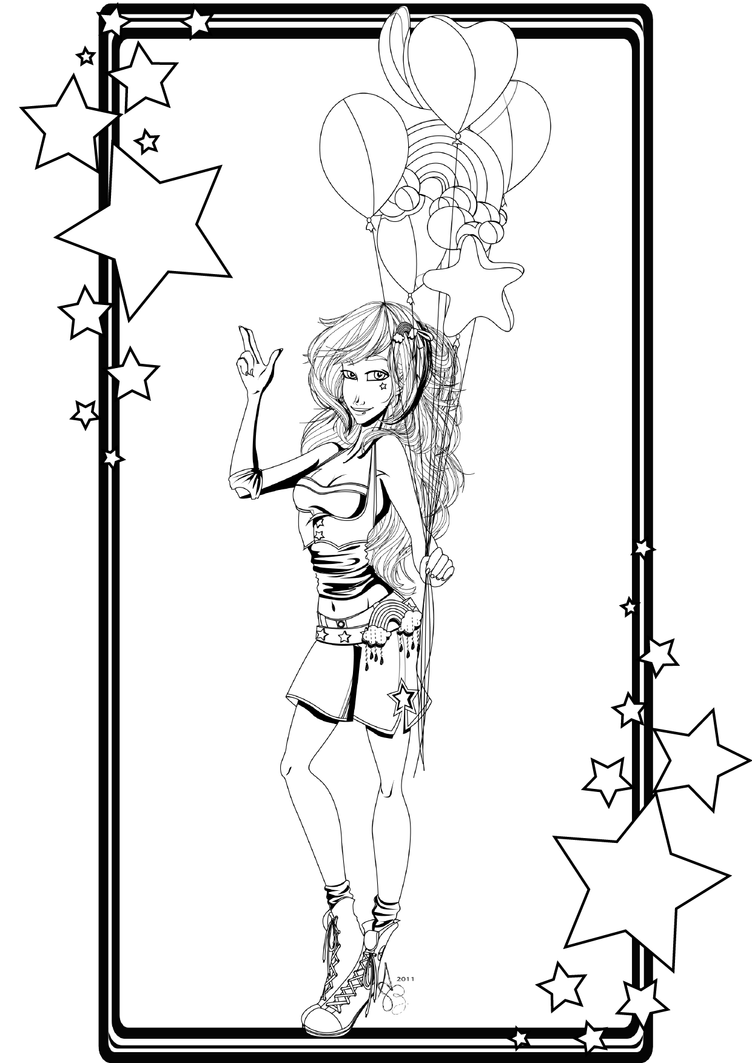 :Brite Girl Coloring Page: by Asher-Bee