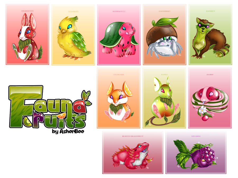 Fauna Fruits Print Line Up by Asher-Bee