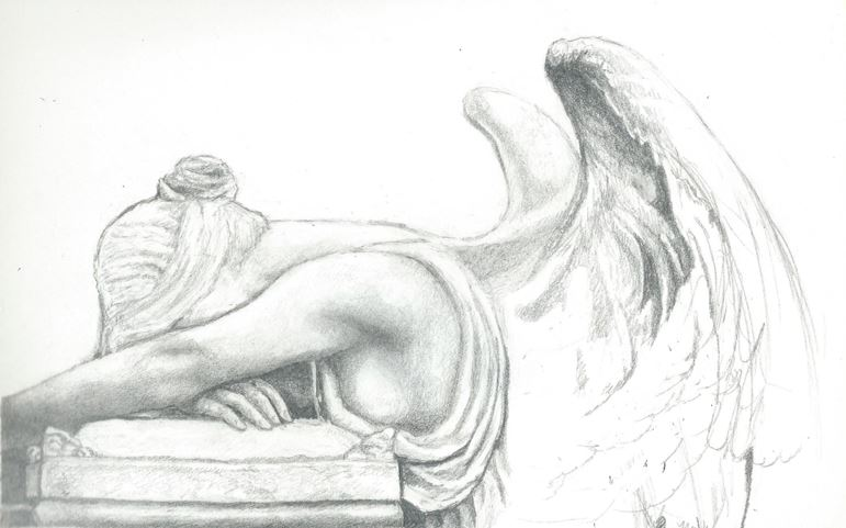 Pencil drawing angel statue by xxpencilxstrokesxx