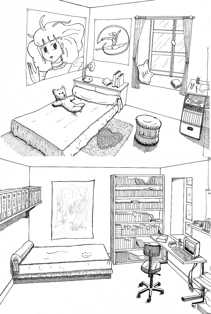 Simple Bedroom Drawing: Bedrooms For A Girl And A Boy By Philho On DeviantArt