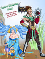 Birthday Commission: Sona and Draven by Shouhda
