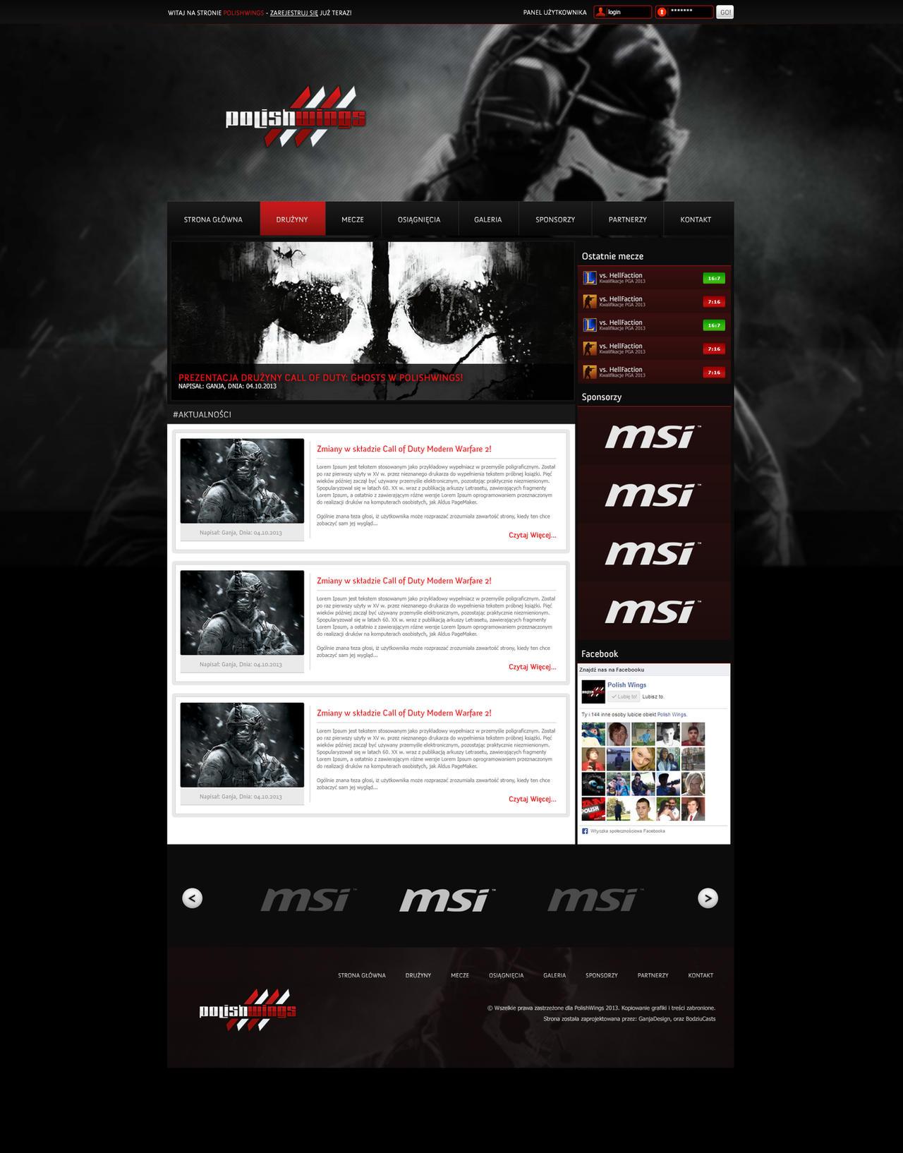 Polish Wings Gaming WebDesign by Gandziks on DeviantArt