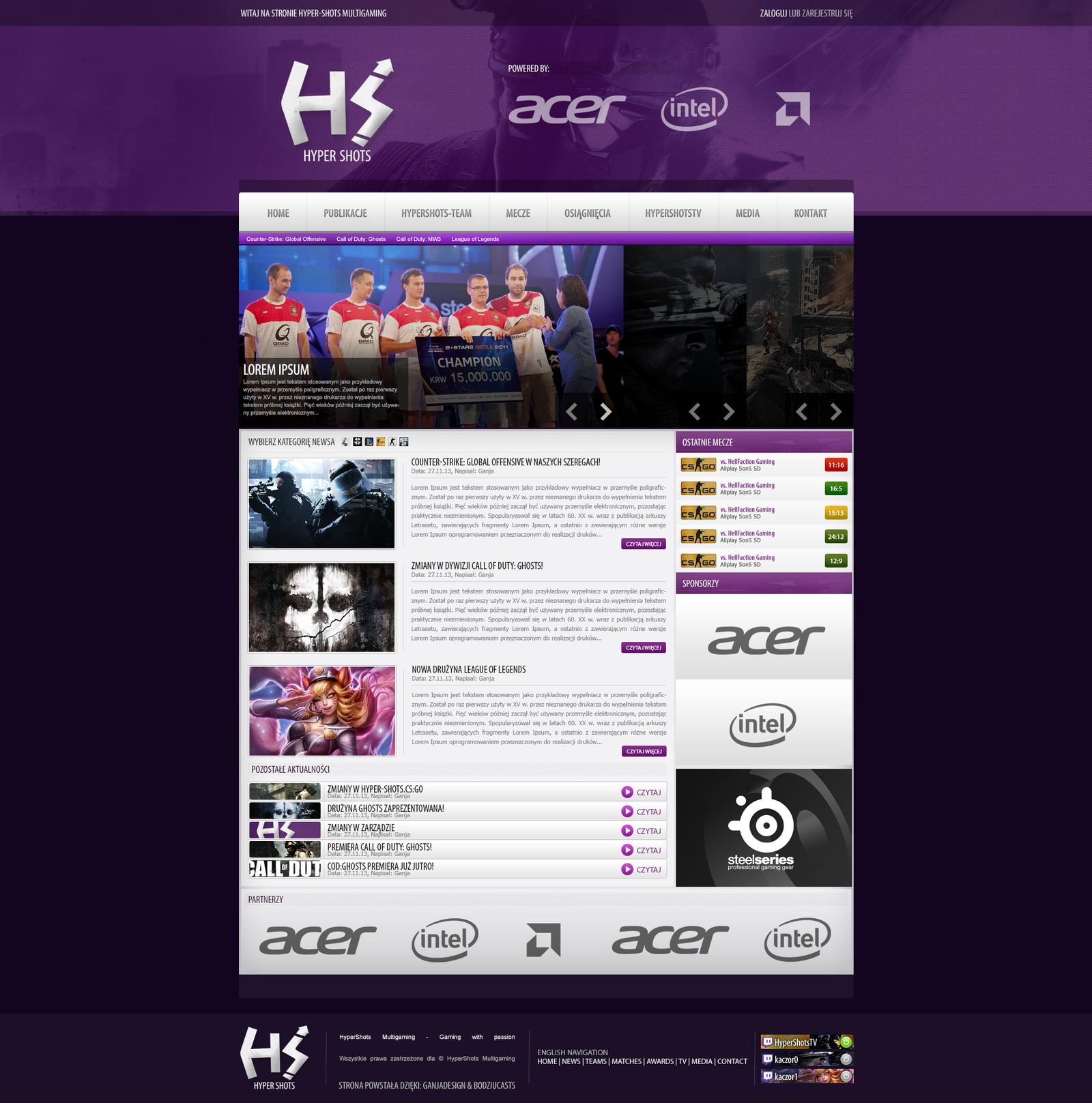 Hyper Shots - Gaming webdesign by Gandziks on DeviantArt
