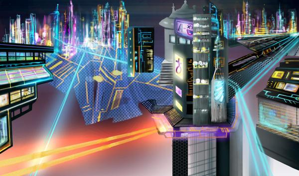 Futuristic city concept by SuperNinkendo