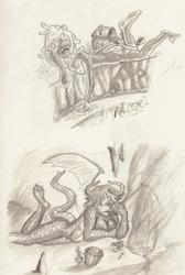 Giant Dragon and Slime Girls