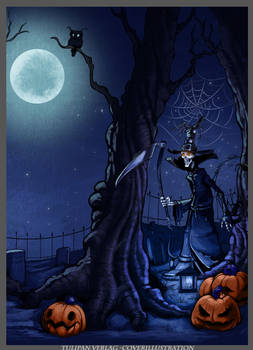 Halloween childrens book illustration