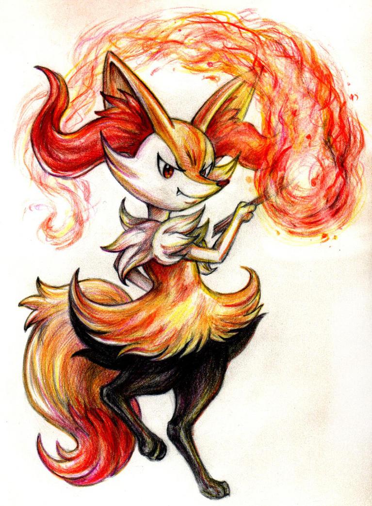 Braixen brought ze Flammenwerfer! by RavenCorona