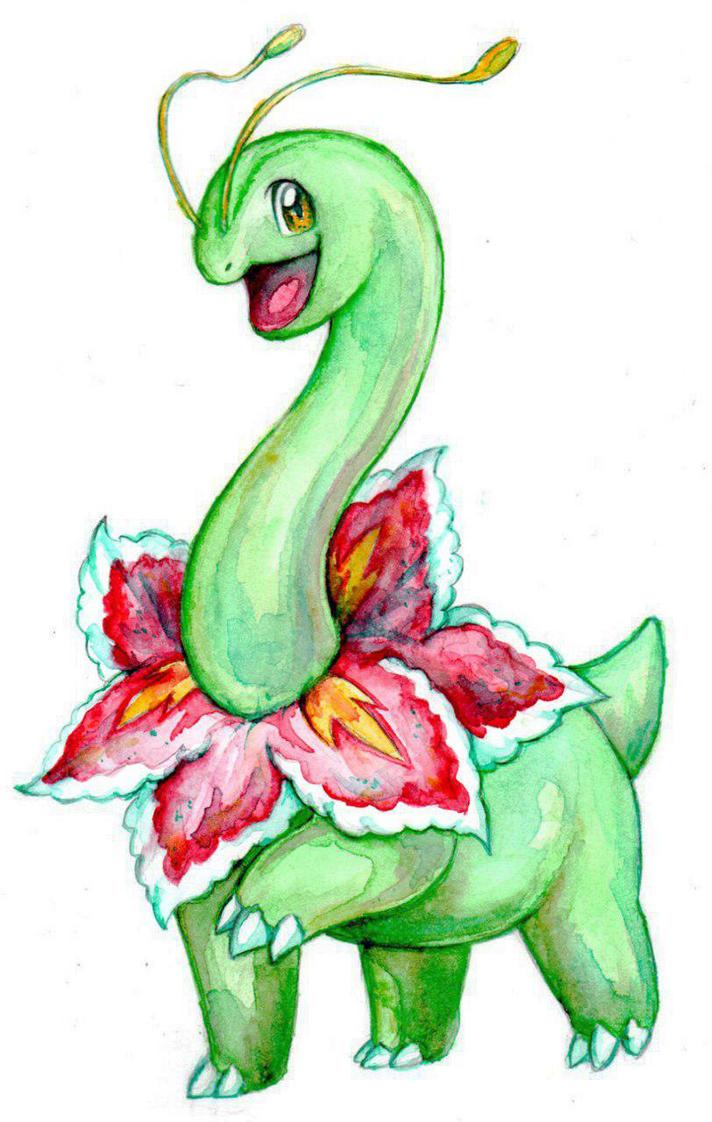 Watercolored Meganium by RavenCorona