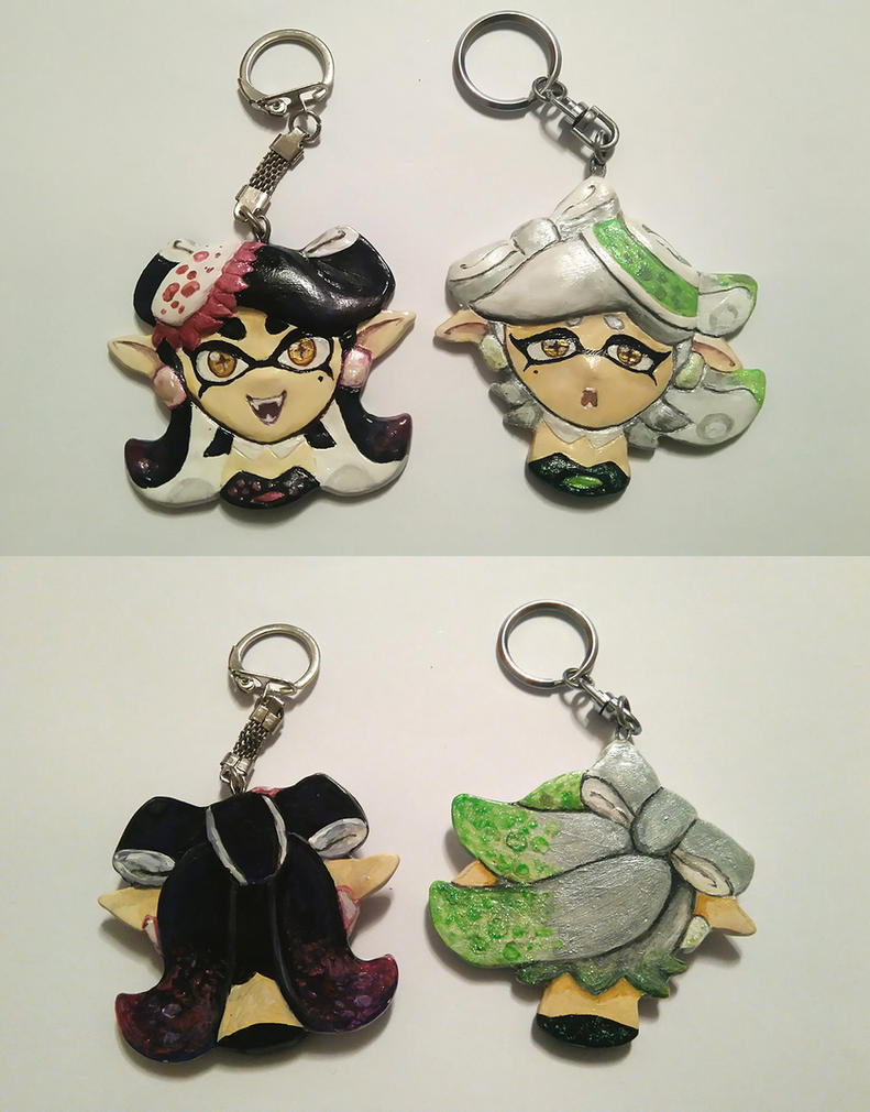 Handmade Squid Sisters keychains by RavenCorona