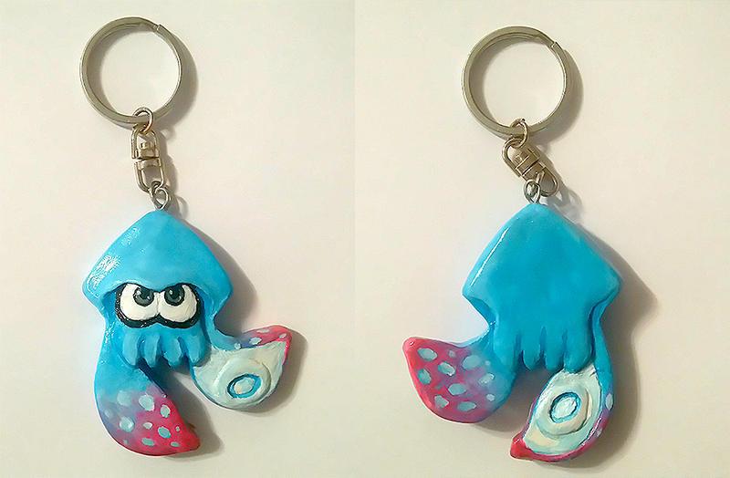 Handmade Blue inkling keychain by RavenCorona