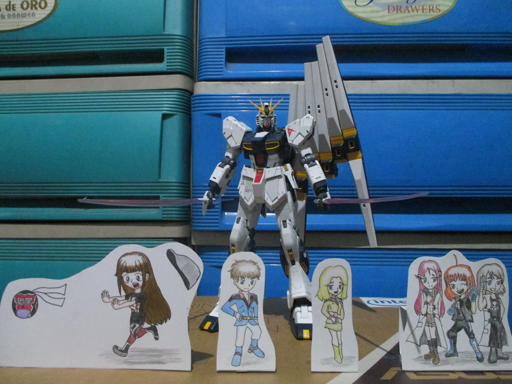 Nu Gundam Ver. Ka with Paper Children by banagher-links