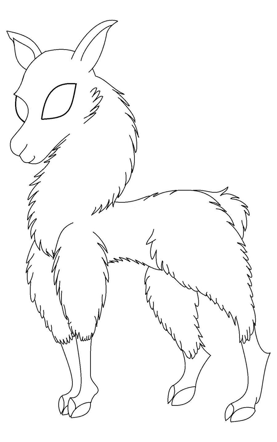Cartoon Llama Lineart