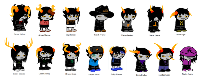 My Homestuck Team - OLD SYMBOLS by SavannaEGoth