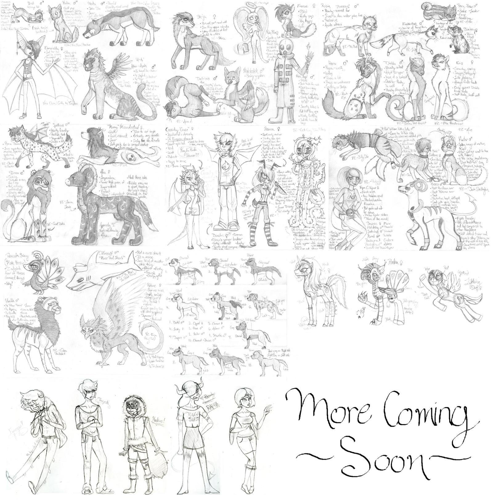 Adopted Characters Sketchdump by SavannaEGoth