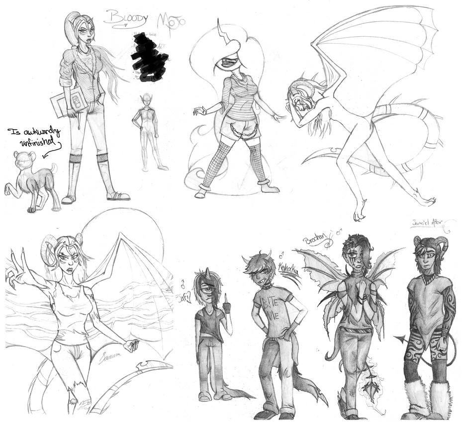 OtherWorlde Sketchdump by SavannaEGoth