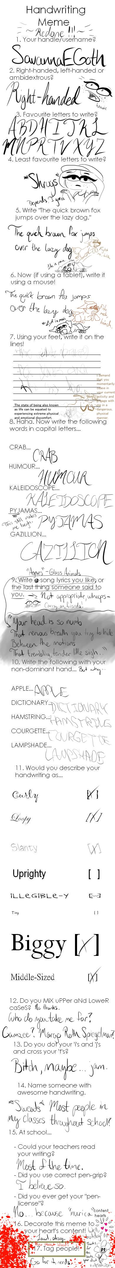 Handwriting Meme - REDONE! by SavannaEGoth
