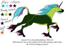 Green Unicorn for Sunset